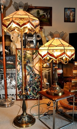 vintage Tiffany style stained glass panel table and floor lamp