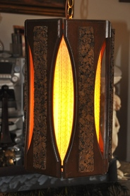 Mid-century modern hanging lantern lamp made of wood and cork