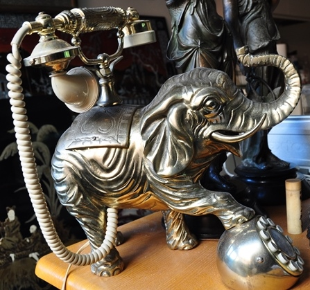 Vintage French style telephone with brass elephant sculpture