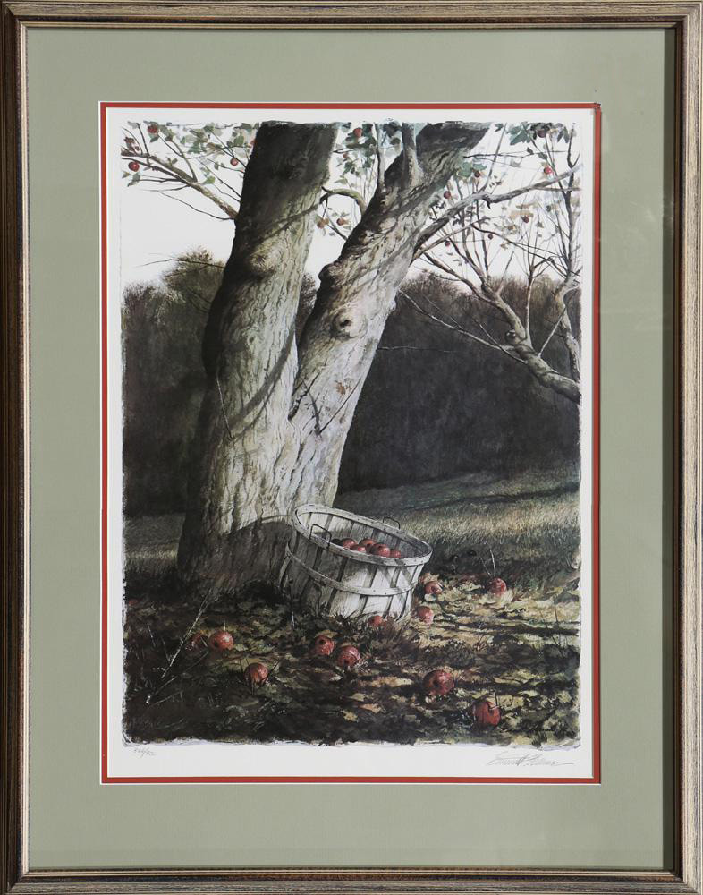 Emmitt Thames limited edition offset lithograph of apple and tree