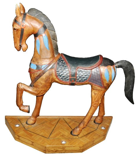 Well known Large carousel style wood carved horse sculpture - Assamika: Arts  GV32