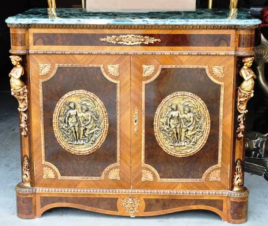 Louis XV style marble top cabinet with figural ormolu bronze mounts