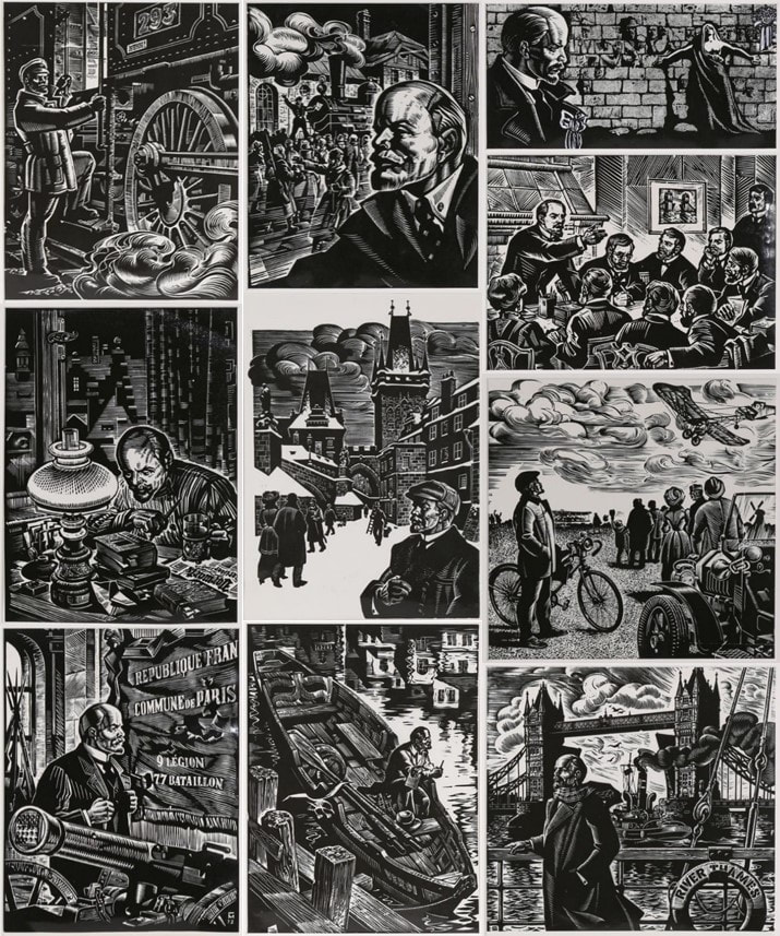 Set of 10 rare reproduction woodcut prints depicting Lenin and events in his life