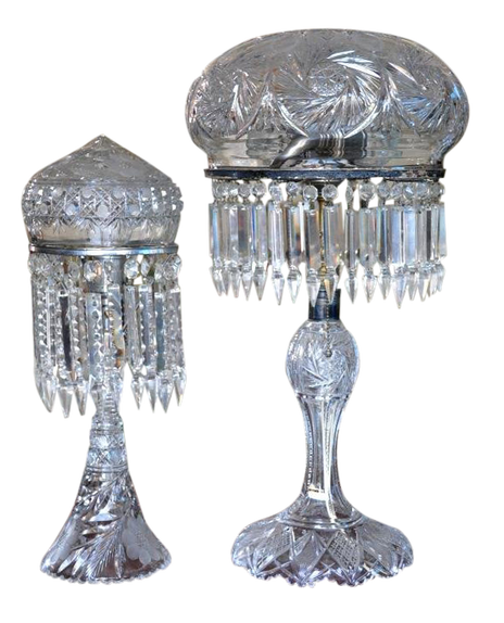 Pair of antique American Brilliant Period cut crystal table lamps with mushroom and acorn shades