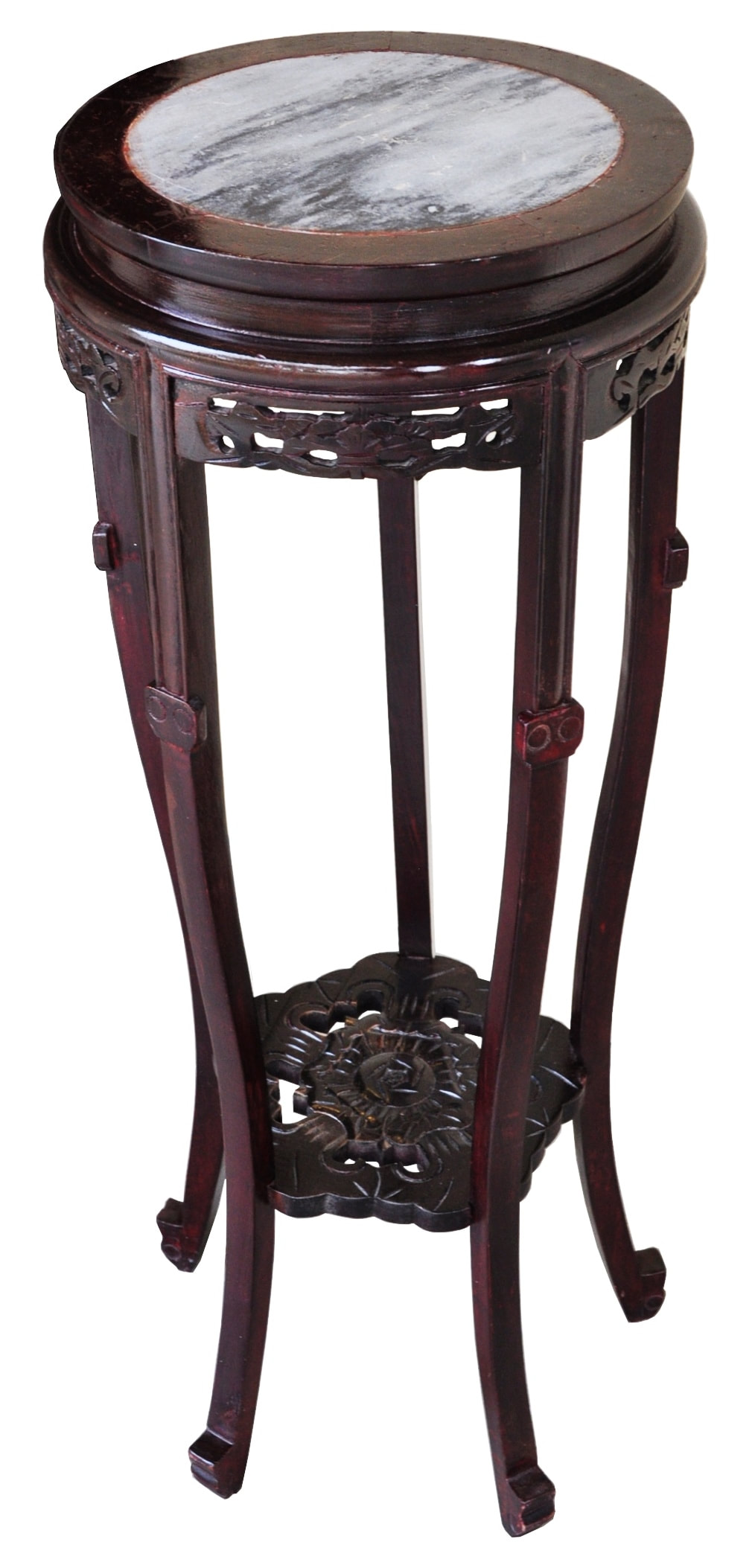 Chinese carved rosewood pedestal with inset marble top