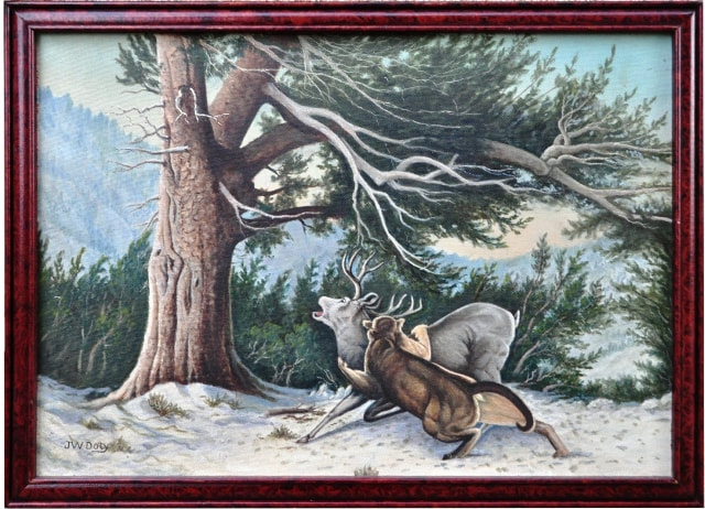 Oil on masonite painting by  California artist John Doty depicting a mountain lion hunting a mule deer​ in Mt. Lassen