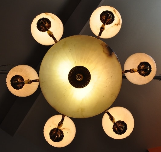 Ornate 9-Light brass and alabaster shade chandelier