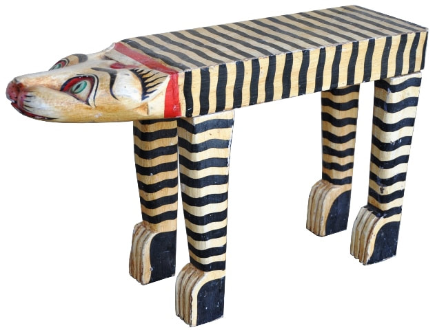 Hand painted carved wood tiger sculpture in the form of a bench/stool