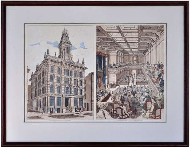 Colored etchings of The San Francisco Stock Exchange and Interior of the Pacific Stock Exchange