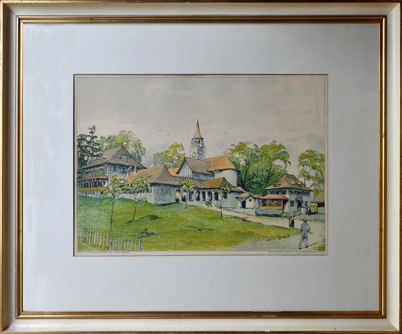 Original color lithograph depicting village scene with figures after Swiss artist Otto Baumberger