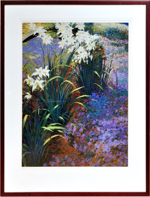 Large framed serigraph depicting lilies around a pond
