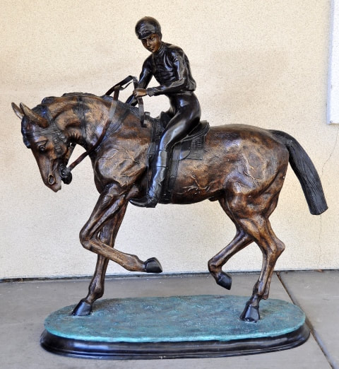 Large bronze sculpture of a jockey on horse after Pierre-Jules Mêne