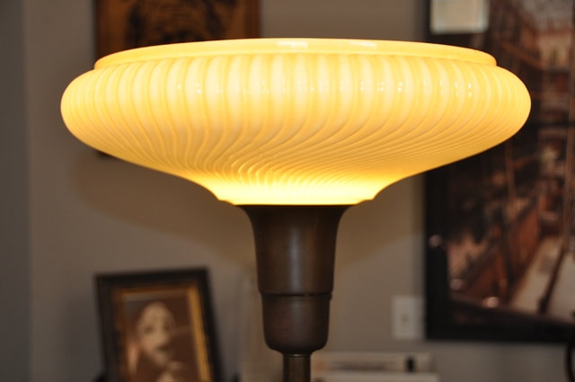 Art Deco torchiere floor lamp light with lustre swirl glass shade