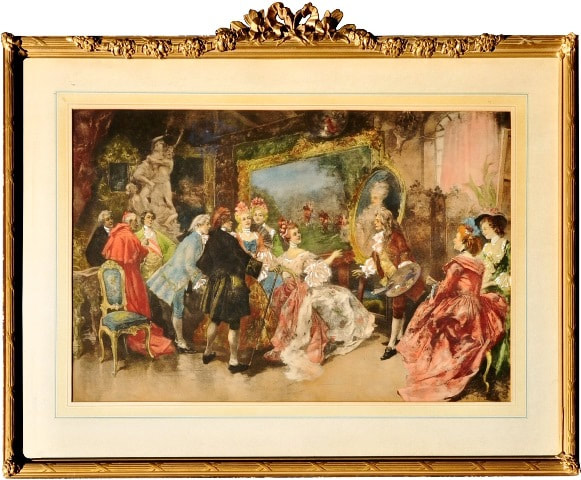 Hand colored lithograph after Royal Visitors in Watteau's Studio by Vincente De Garcia Paredes