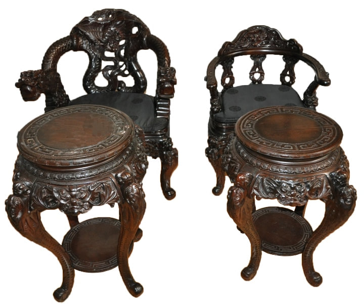 Set of 4 Oriental wood carved dragon chairs and tables