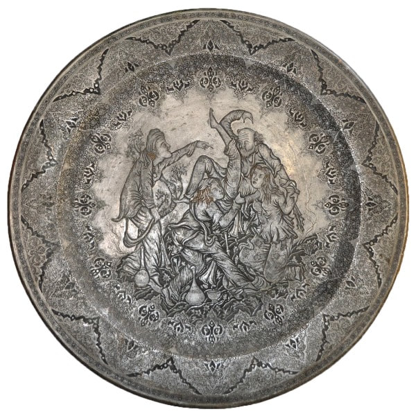 Persian silver on copper circular tray with Ghalamzani engravings of people in a drinking party