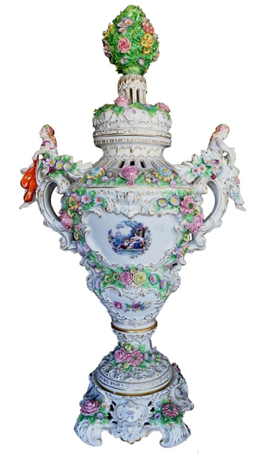 Monumental Sitzendorf potpourri porcelain vase with figural handles and floral decorations