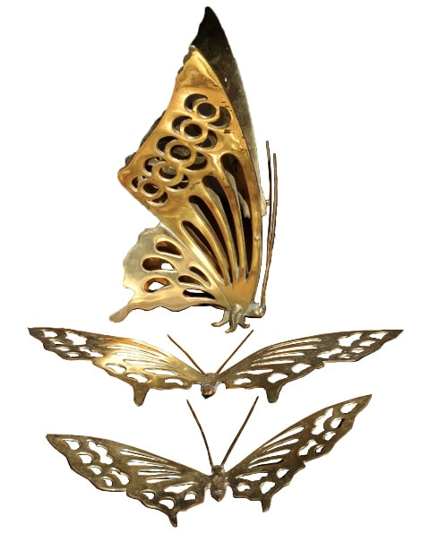 Set of 3 brass butterfly wall decor