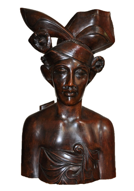 Large ironwood bust sculpture of a Balinese man