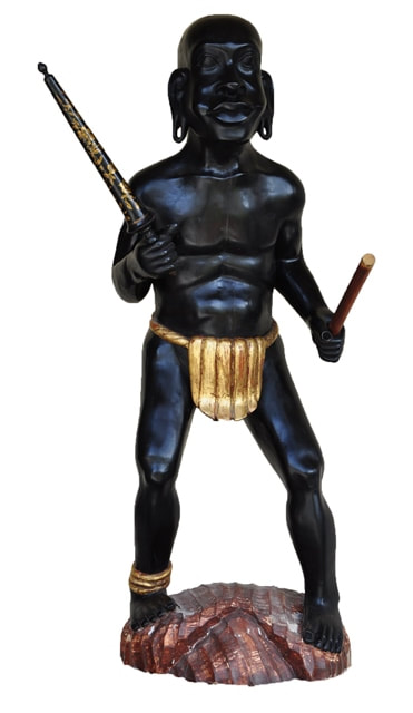 Antique Continental style ebonized and gilt wood carved sculpture depicting a warrior