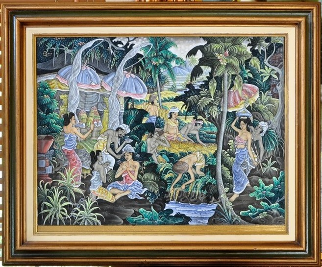 Traditional Balinese oil on canvas painting from Ubud depicting rural daily life