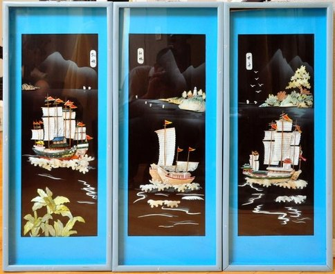 Three panel Chinese wall hanging with 3D relief art of nautical scenes