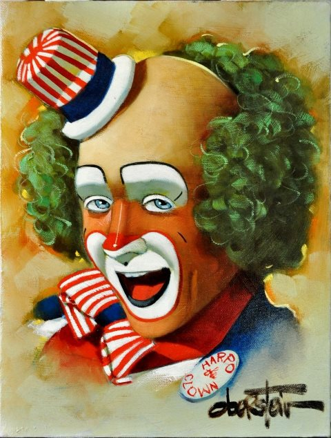 Original oil on canvas painting Harpo the Clown by Chuck Oberstein