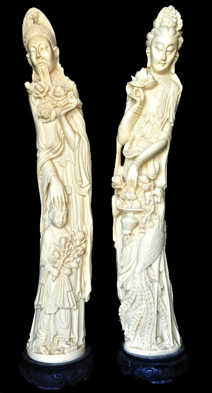 Pair of faux ivory statues of Kwan Yin and another Oriental God