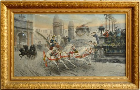 Antique chromolithograph of Ettore Forti painting titled Greeting the Victor depicting Romans on chariots