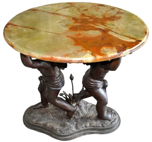 Renaissance style green onyx top foyer table with bronze figural base
