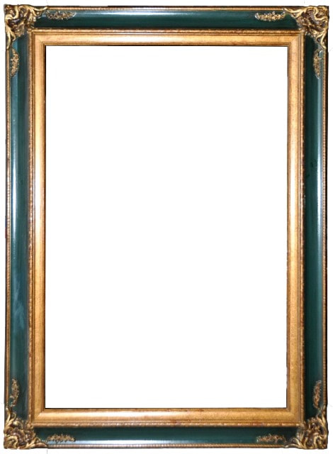 Ornate wood picture frame painted in gold and green​