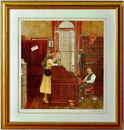 Limited edition lithograph of the painting Marriage Contract by Norman Rockwell