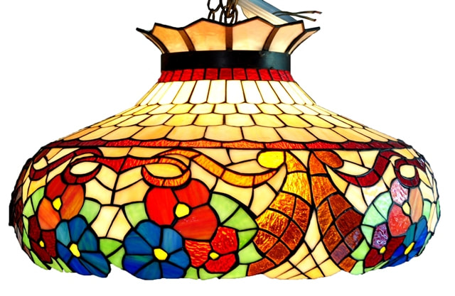 Large 24 inch wide Tiffany style hanging lamp