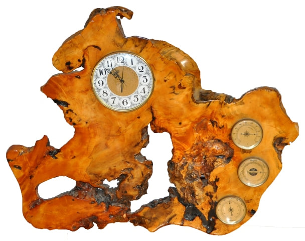 One of a kind burl wood clock and weather station