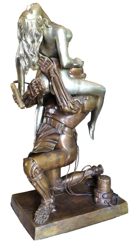 Bronze erotic sculpture Techno Lover after Rudolfo Bucacio, once owned by Jenna Jameson