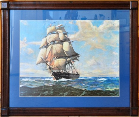 Framed print of the USS Constitution painted by William James Aylward