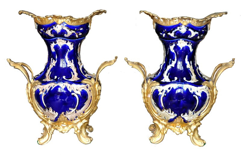 Pair of cobalt blue French porcelain vases with gilded bronze mounts​