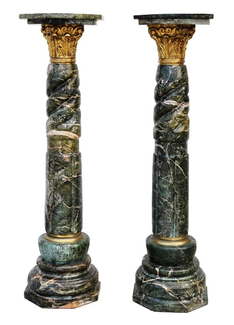 Pair of green marble column pedestals with Corinthian gilt bronze capitals