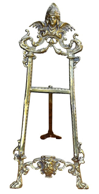 Victorian cast brass figural table top easel