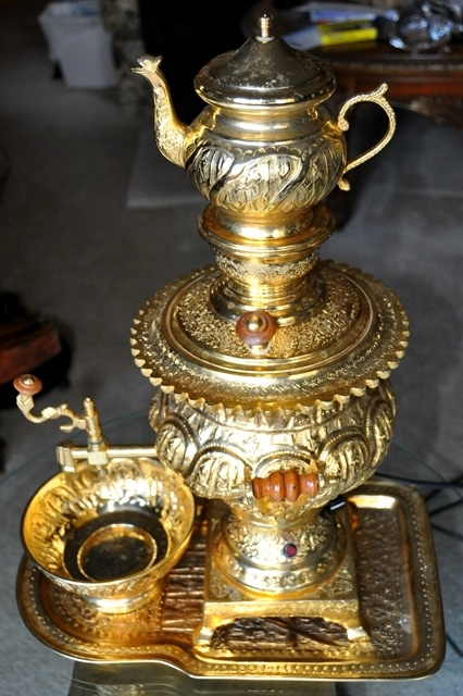 Gold plated Persian samovar with tea pot, bowl and tray