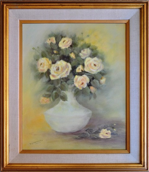 Oil on canvas painting of yellow roses in a vase by E. Carpenter