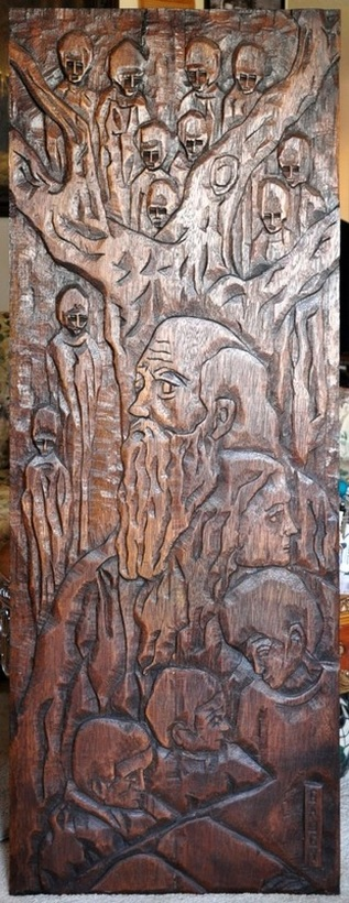 Jean-Claude Gaugy wood relief carving of the Prophet and the Tree of Life