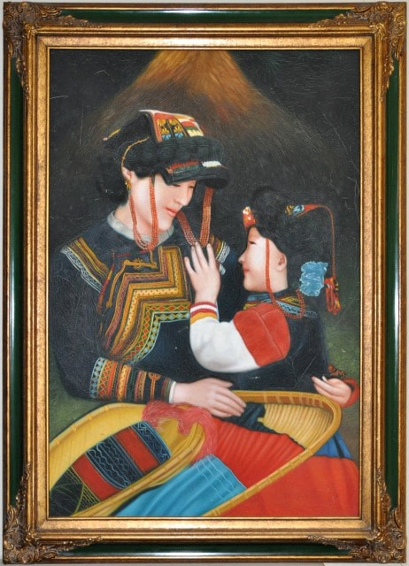 Painting of Hmong mother and child in colorful dresses