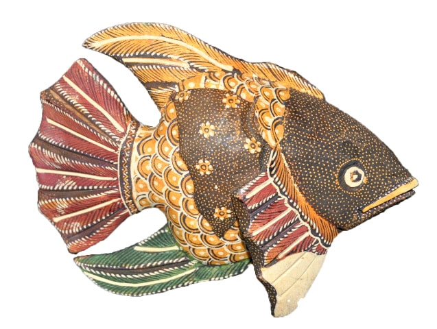 Painted wooden fish from Vietnam
