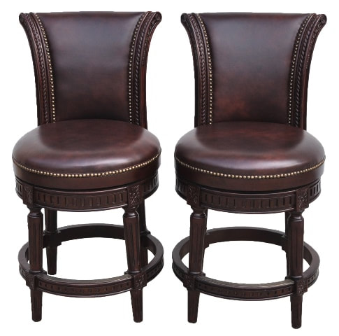 Pair of Manchester swivel counter height brown leather bar stools