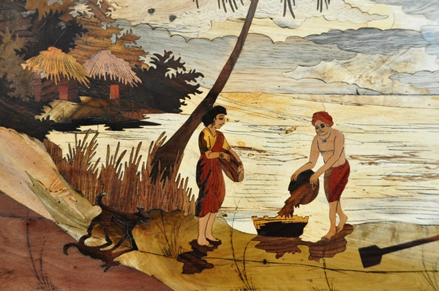Marquetry Wood Inlay Artwork From India Depicting A