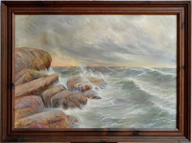 Oil on canvas seascape painting by Kornell