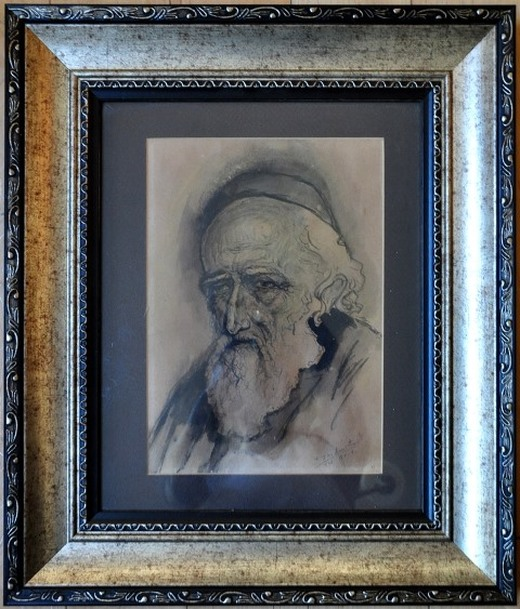 Ink on paper drawing of a rabbi by an Israeli artist