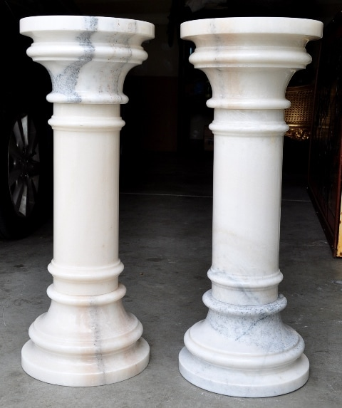 Pair of white marble pedestals