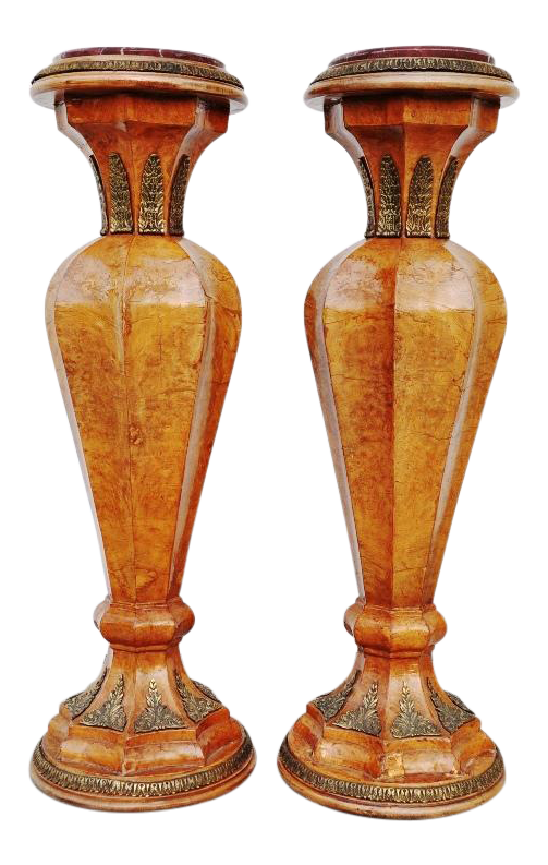 Pair of French wooden column marble topped pedestals with ornate bronze mounts